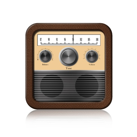Retro Radio Icon on white background Stock Photo - 13300764