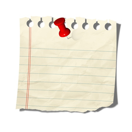 bulletin: old note paper with push pin on white background