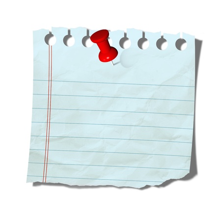 paper fastener: old note paper with push pin on white background