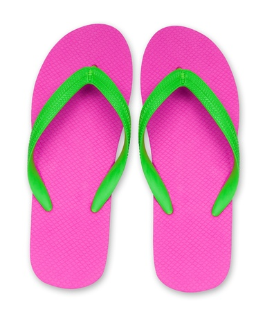 included: pink and green flip flop sandals isolated,included clipping path Stock Photo