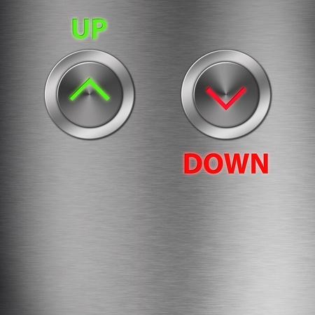 승강기: 공간으로 금속 버튼 위로 및 아래로