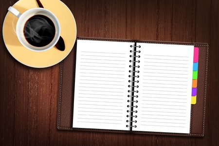 notebook page: Tablet computer on Wood Table with a cup of coffee