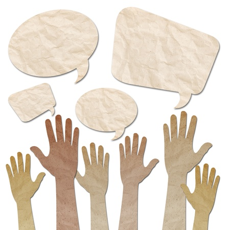 recycled paper craft, Human Hands raised up with Speech Bubbles on white Standard-Bild