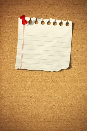 blank note paper with push pins on cork board
