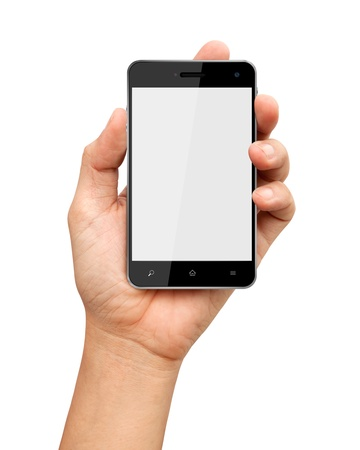 Hand holding smart phone with blank screen on white background Stok Fotoğraf - 14796098