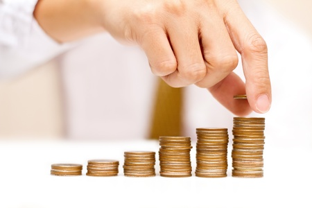 retirement fund: a man with rising coins