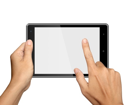 touch pad: hands are holding and point on Tablet PC Isolated on white background