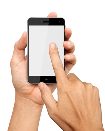 hands are holding and point on Smart Phone Isolated on white background Standard-Bild