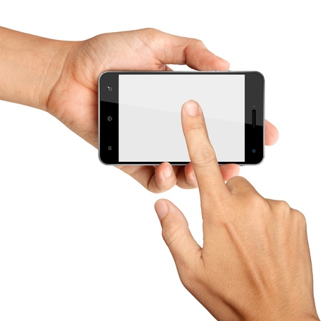 hands are holding and point on Smart Phone Isolated on white background photo