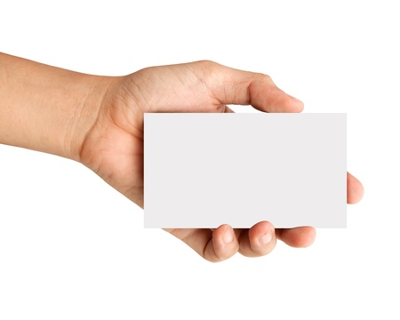 hand business card: Hand holding white paper isolated on white background Stock Photo