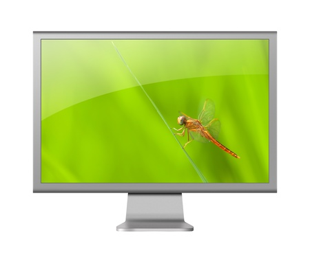def: computer monitor LCD with beautiful wallpaper on white background