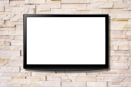 Blank screen LCD tv hanging on a wall photo