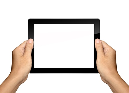 tablet pc in hand: hands are holding Tablet PC Isolated