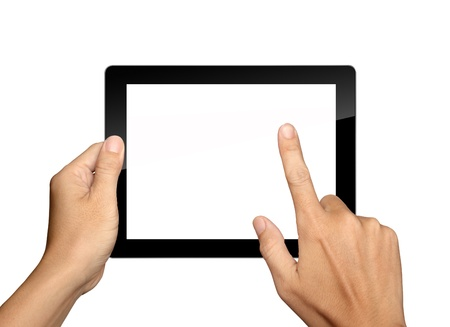 input device: hands are holding and point on Tablet PC Isolated on white background