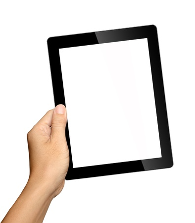 mobile advertising: hand holding tablet pc isolated on white background