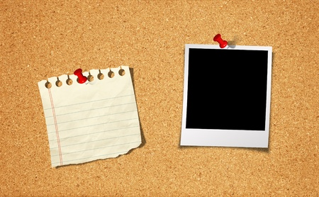 Blank Photo and Notepad with push pin on cork board background photo
