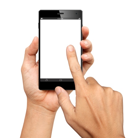 swipe: Hands are holding and point on A Big Screen Smart Phone on white background