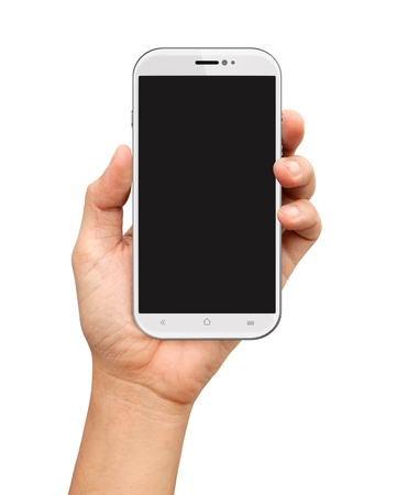 Hand holding White Smartphone with blank screen on white background Stock Photo