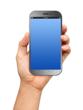 Hand holding A Big Screen Smartphone with blank screen on white background Reklamní fotografie