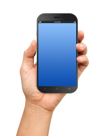 Hand holding A Big Screen Smartphone with blank screen on white background Stok Fotoğraf - 19440465