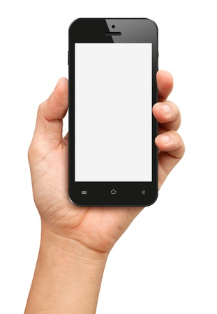cellphone: Hand holding Black Smartphone with blank screen on white background