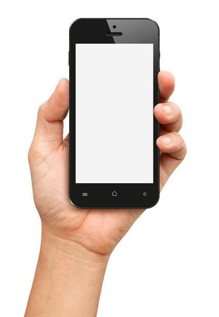 manos: Mano que sostiene Smartphone Negro con pantalla en blanco sobre fondo blanco