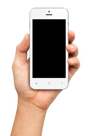 manos: Mano que sostiene Smartphone blanco con pantalla en blanco sobre fondo blanco