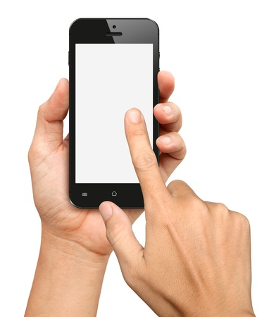 Hand holding and Touch on Black Smartphone with blank screen on white background