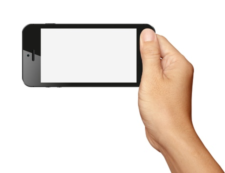 mobile advertising: Hand holding Black Smartphone in horizontal on white background
