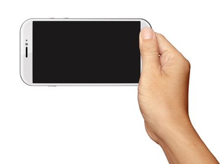 Hand holding White Smartphone in horizontal on white background Stok Fotoğraf - 21776488