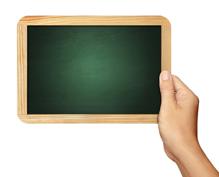 Hand holding Blackboard on white background photo