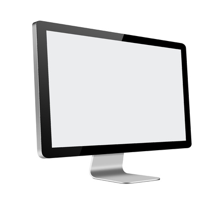 flat panel monitor: LCD Computer Monitor with blank screen on white background