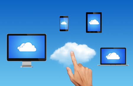 synchronizing: Cloud computing Network Connected all Devices Stock Photo