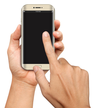 Hand hold and Touch on Curve Screen Smartphone on white background Stock fotó