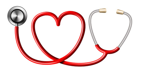 Red Stethoscope In Shape Of Heart on White Background Imagens