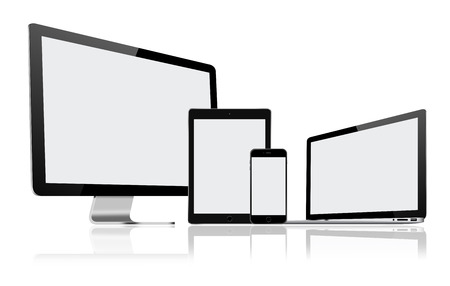 pc monitor: High resolution illustration set of modern computer monitor, laptop, tablet pc and mobile phone with blank screen