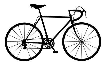 road cycling: Silhouette of vintage bicycle on white background