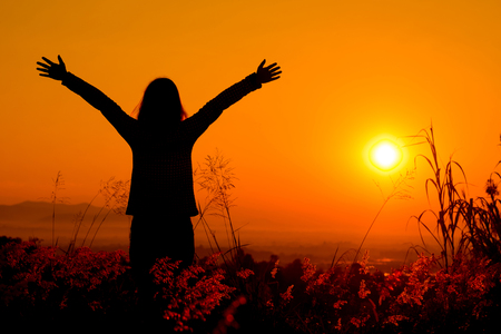 mujer feliz disfrutando de la naturaleza libre de la puesta del sol. La libertad, la felicidad Foto de archivo