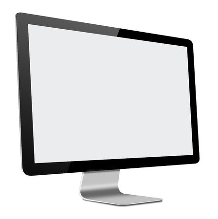 monitor screen: 3D illustration of Slim LED Computer Monitor with blank screen on white background Stock Photo