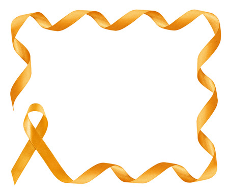 ribbin: Childhood Cancer Awareness golden Ribbon frame with copy space