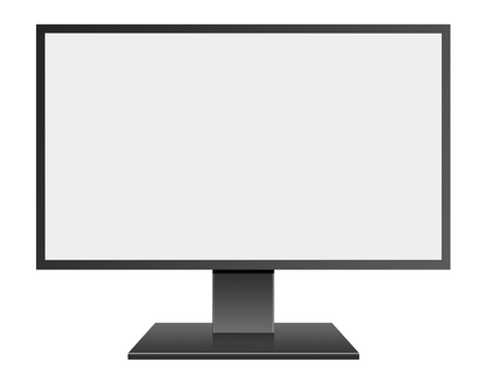 hidef: 3D illustration Black LED Computer Mornitor with blank screen on white background