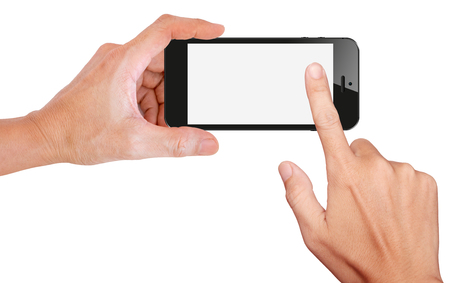 on the handphone:  Mobile phone snapping a picture isolated on white background Stock Photo