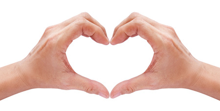 handsign: two hands forming a heart on white background