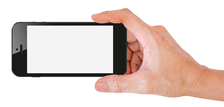 snap: Mobile phone snapping a picture isolated on white background