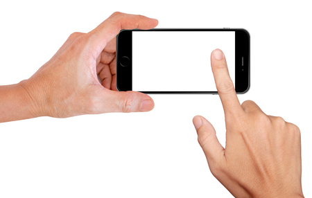 snapping: Mobile phone snapping a picture isolated on white background