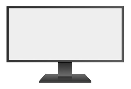 hidef: 3D illustration Wide Screen Computer Mornitor with blank screen on white background