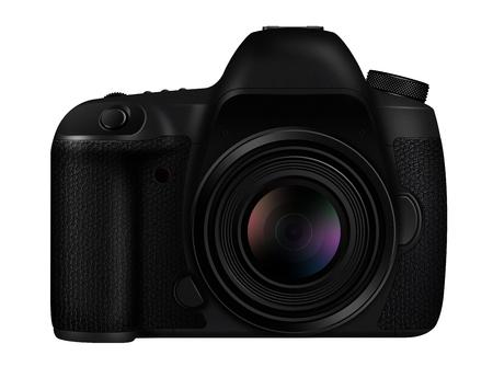 profesional: 3D illustration Black DSLR camera isolated on white background