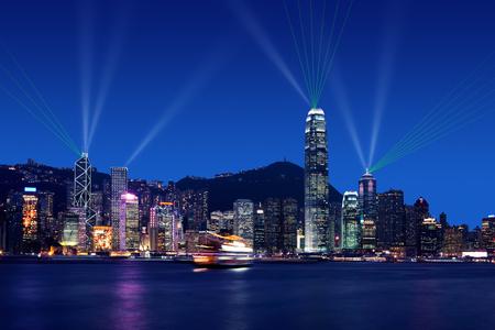 Symphony of lights at Victoria Harbor, Hong kong Stock Photo