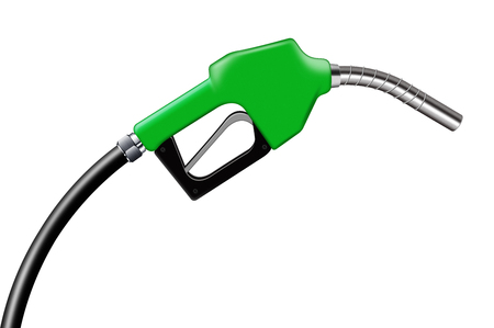 combustible: 3D illustration green fuel nozzle on a white background