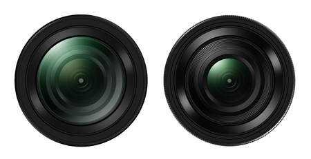 Front view of Two DSLR camera lens isolated on white backgroun